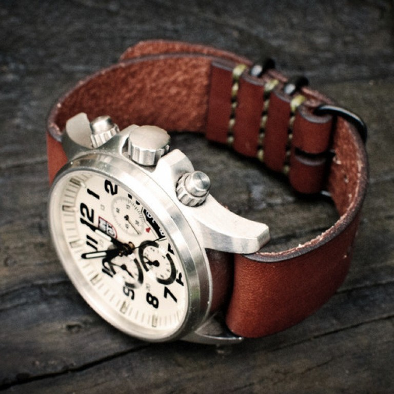 bridle leather simple nato watch strap_brown