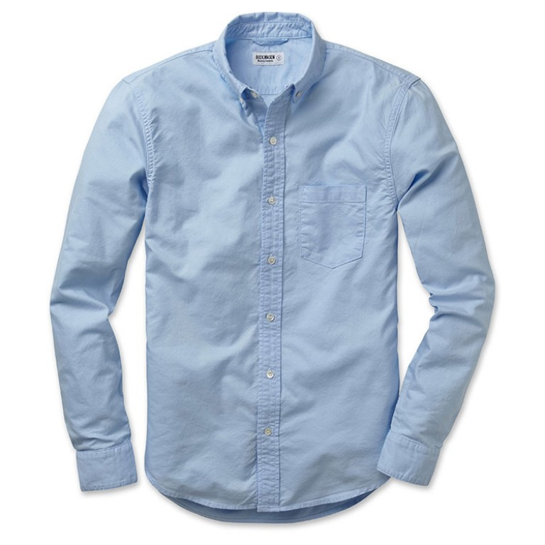 buck mason light blue oxford