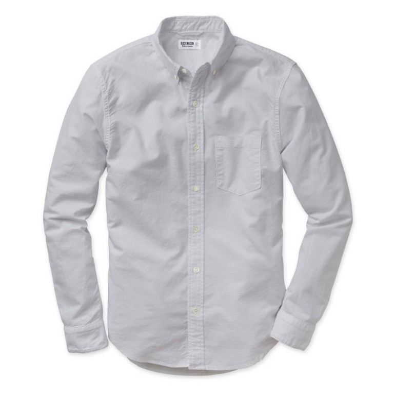 buck mason light grey oxford