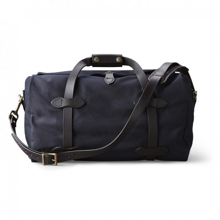 small navy filson duffle bag
