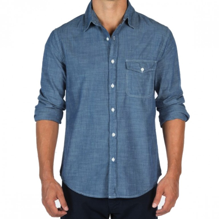 Save Khaki United - Casual Button-Down Shirts - L-S Chambray Work Shirt