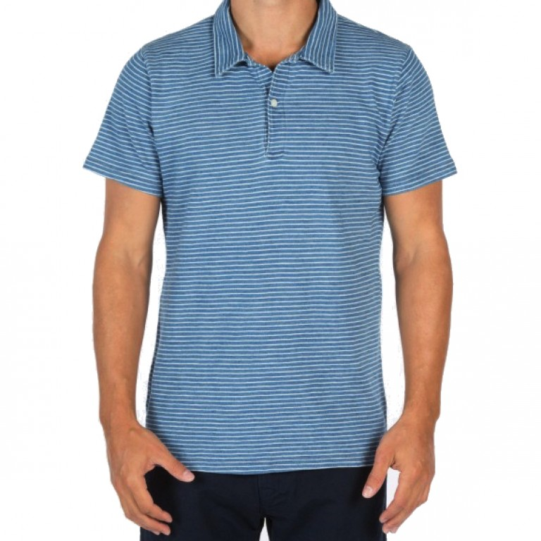Save Khaki United - Polos - S-S Indigo Beach Stripe Polo