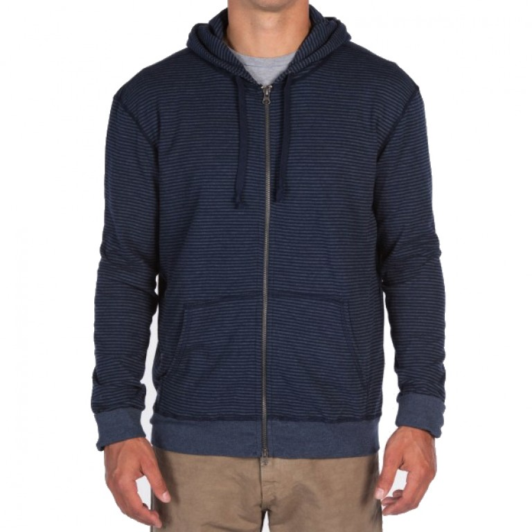 Save Khaki United - Sweatshirts - Stripe Pointelle Zip Hooded Sweatshirt