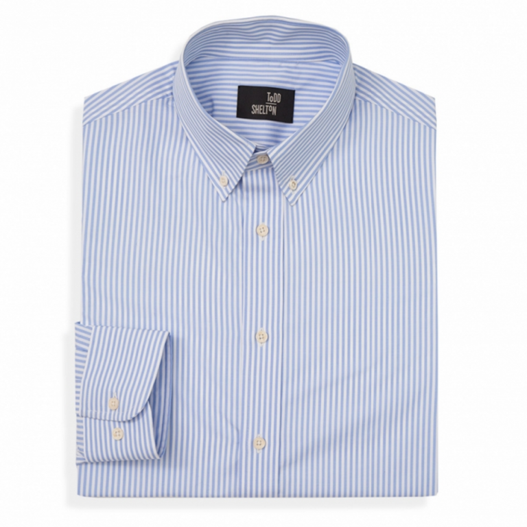 Todd Shelton - Dress Shirts - Poplin Shirt Blue Stripe