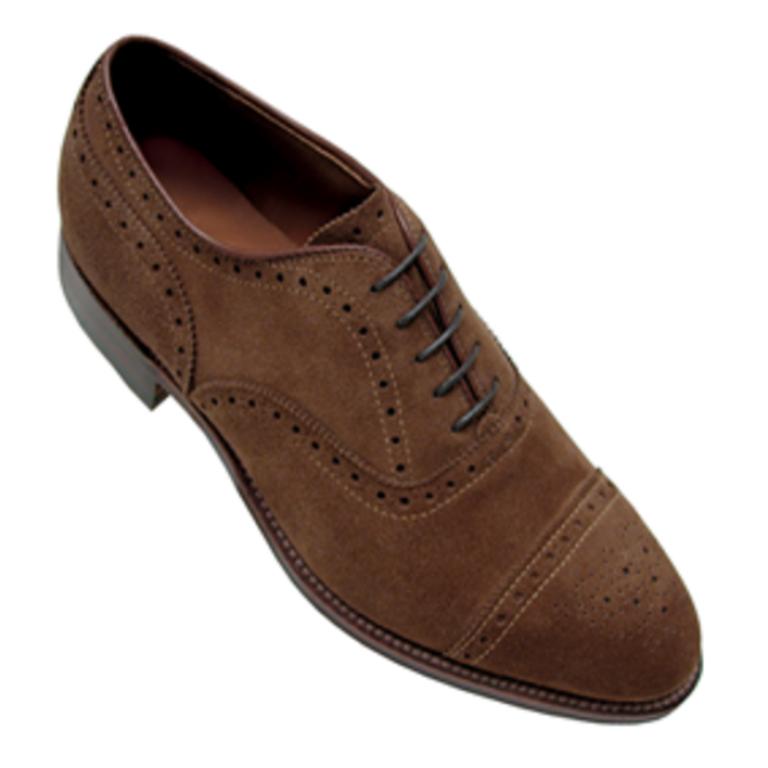 Alden - Dress Shoes - medallion tip bal suede