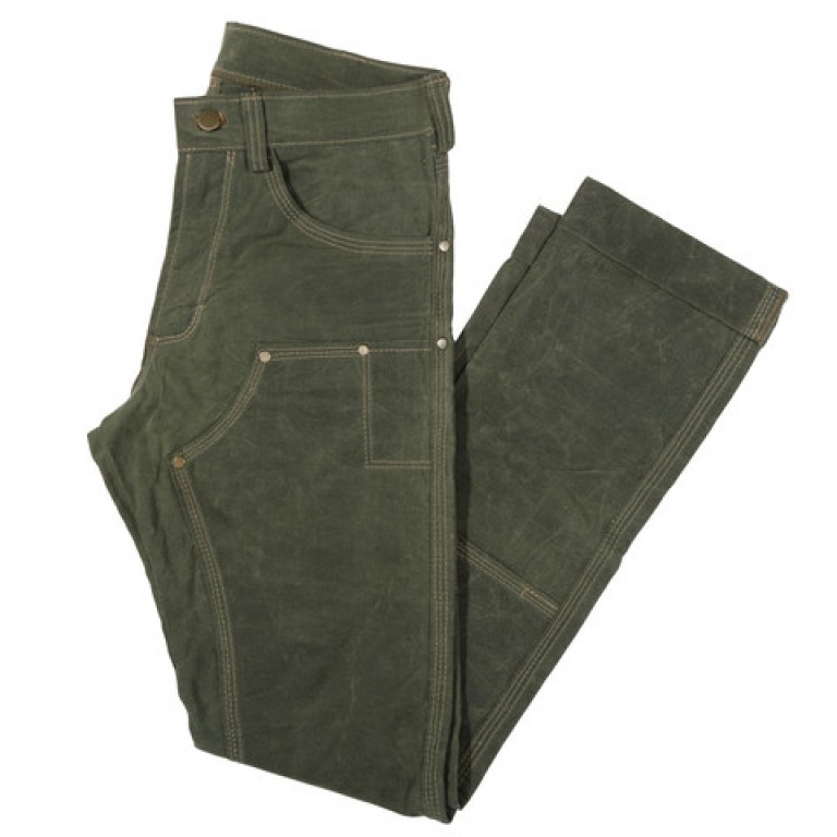 red clouds collective olive waxed canvas fitted work pants