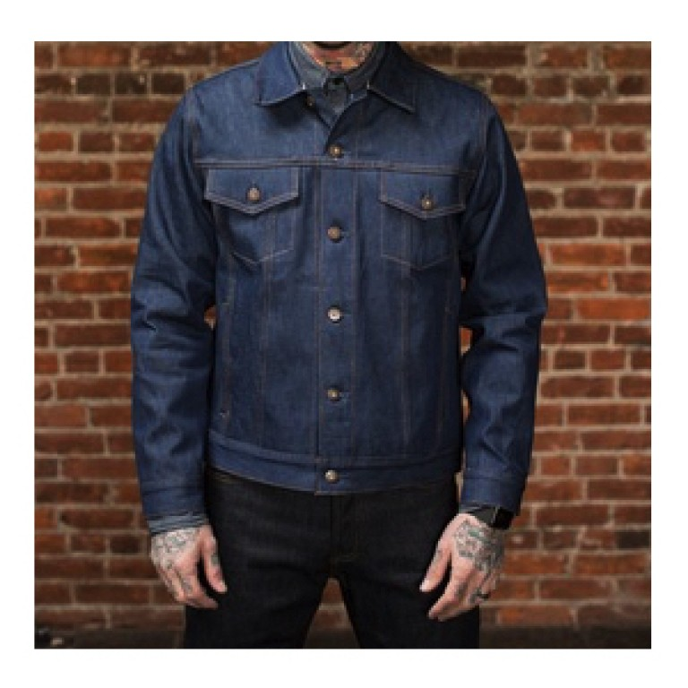 tellason natural indigo raw denim jacket