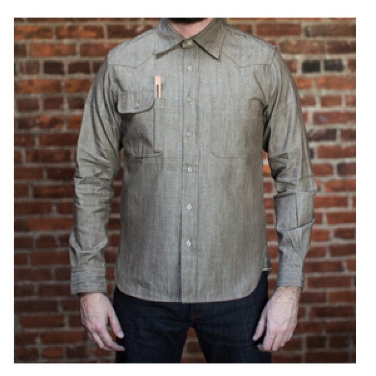 tellason topper brown denim shirt
