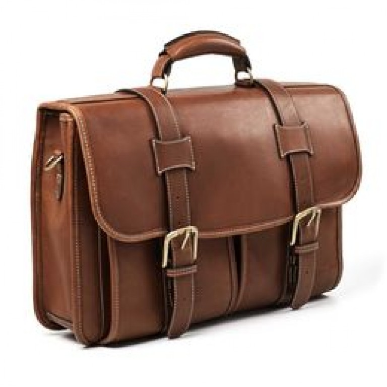 allen edmonds double flap leather briefcase