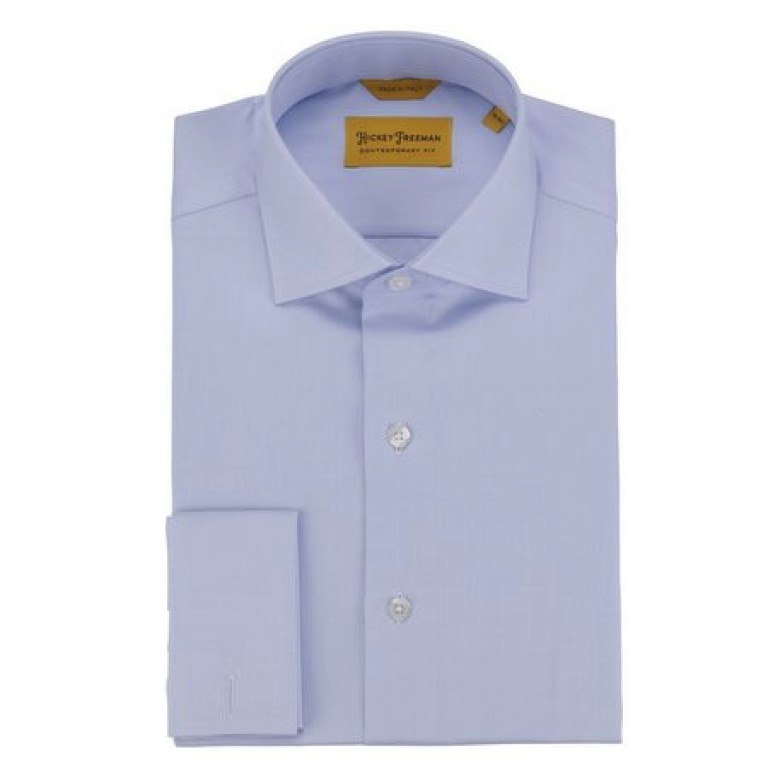Hickey Freeman - Dress Shirts - Blue Mini-Herringbone French Cuff Dress Shirt