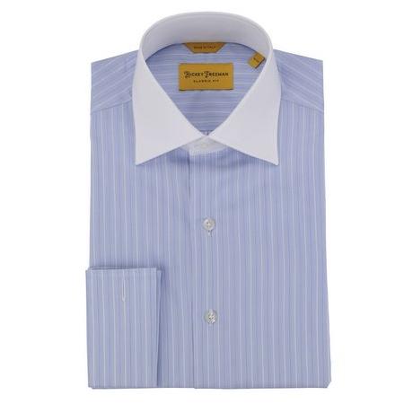 Hickey Freeman - Dress Shirts - Blue-White Stripe French Cuff Dress Shirt