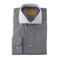 Hickey Freeman - Dress Shirts - Charcoal Textured Solid Dress Shirt