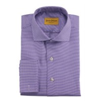 Hickey Freeman - Dress Shirts - French Cuff Eggplant Houndstooth Dress Shirt